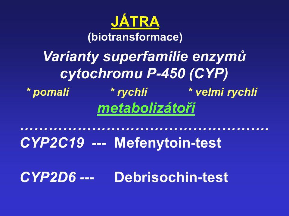 JÁTRA, žluč. cesty Funkční testy Lidokain - MEGX (kapacita jater pro biotransformaci) (oxidační deethylace pomocí CYP3A4 na monoethylglycinxylid) (Pos