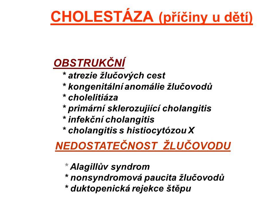 HEPATOCELULÁRNÍ * hepatitis * deficience alfa-1-antitrypsinu * dědičné poruchy tvorby žluč.kys. * léková cholestáza * progres. familiární intrahep.cho
