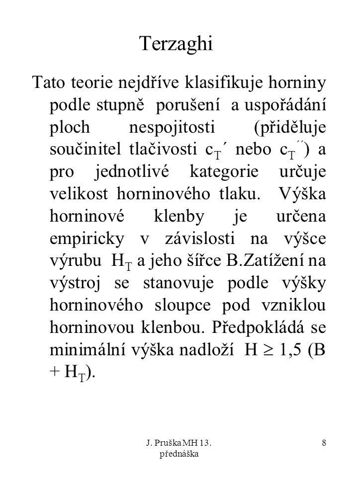 J. Pruška MH 13. přednáška 9 masivní skalní horniny Hp=0,25 B
