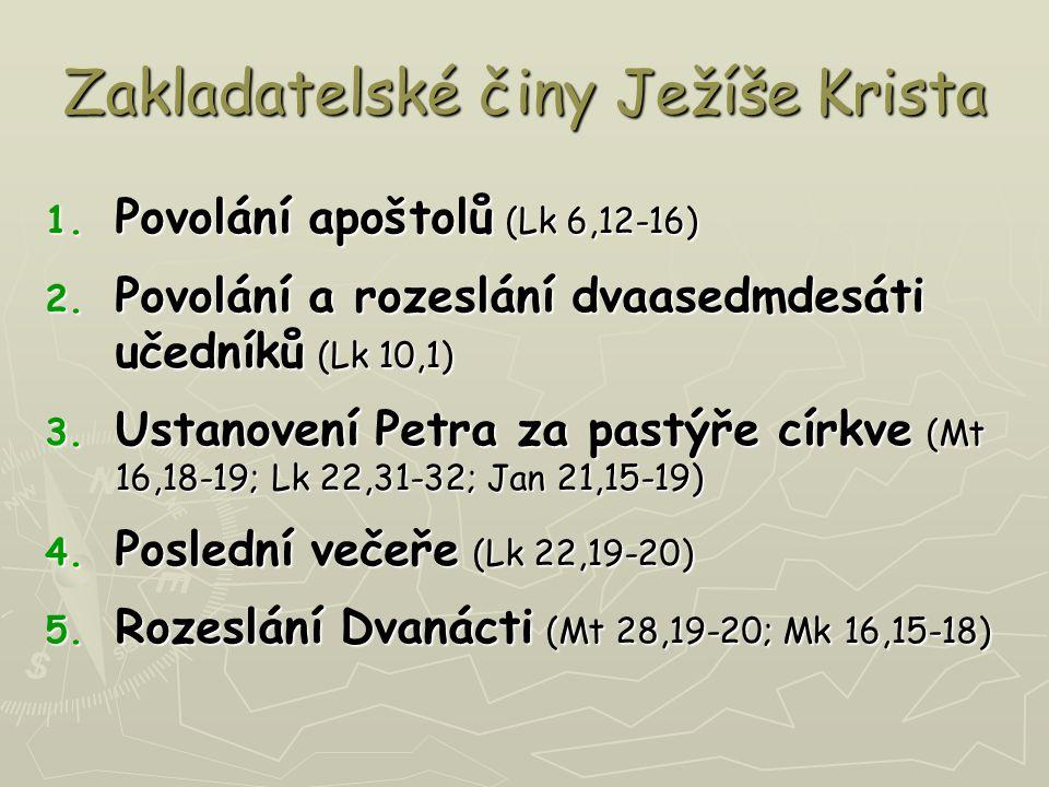 Zakladatelské činy Ježíše Krista 1. Povolání apoštolů (Lk 6,12-16) 2.
