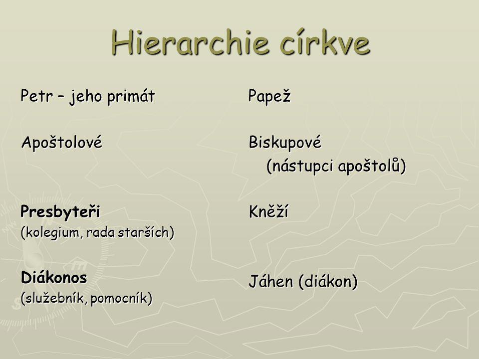 ► Hierarchie = posvátná moc = služba (působící z moci svěcení); zvláštní působnost Ducha svatého (Jan 14,15-17) 1.