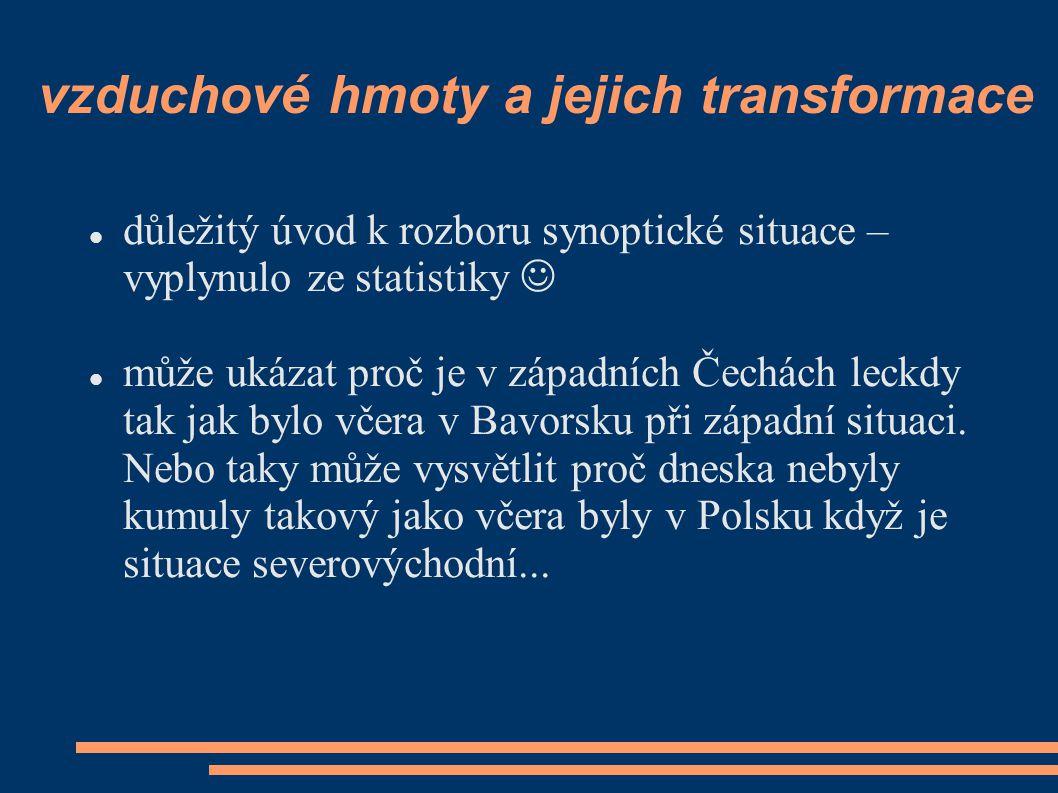 vzduchové hmoty a jejich transformace  důležitý úvod k rozboru synoptické situace – vyplynulo ze statistiky   může ukázat proč je v západních Čechá