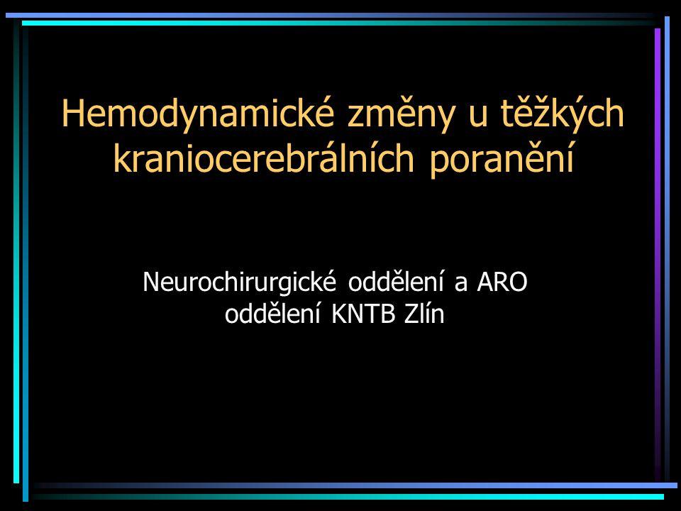 Hemodynamické změny u těžkých kraniocerebrálních poranění Neurochirurgické oddělení a ARO oddělení KNTB Zlín
