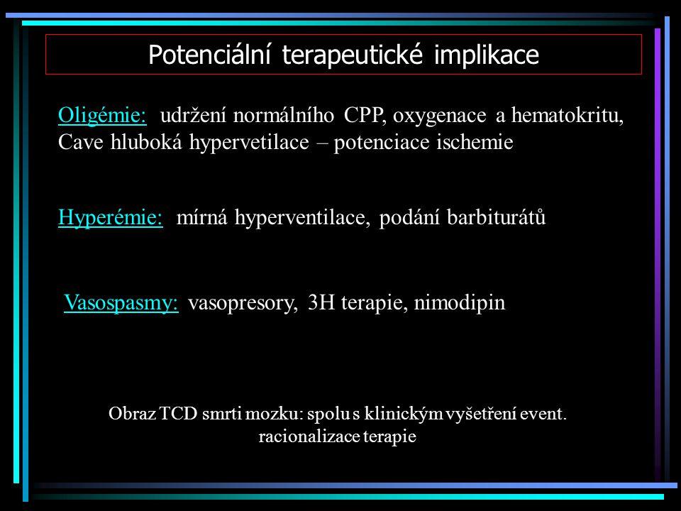 Potenciální terapeutické implikace Oligémie: udržení normálního CPP, oxygenace a hematokritu, Cave hluboká hypervetilace – potenciace ischemie Hyperém