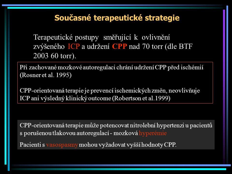 Současné terapeutické strategie Terapeutické postupy směřující k ovlivnění zvýšeného ICP a udržení CPP nad 70 torr (dle BTF 2003 60 torr). Při zachova