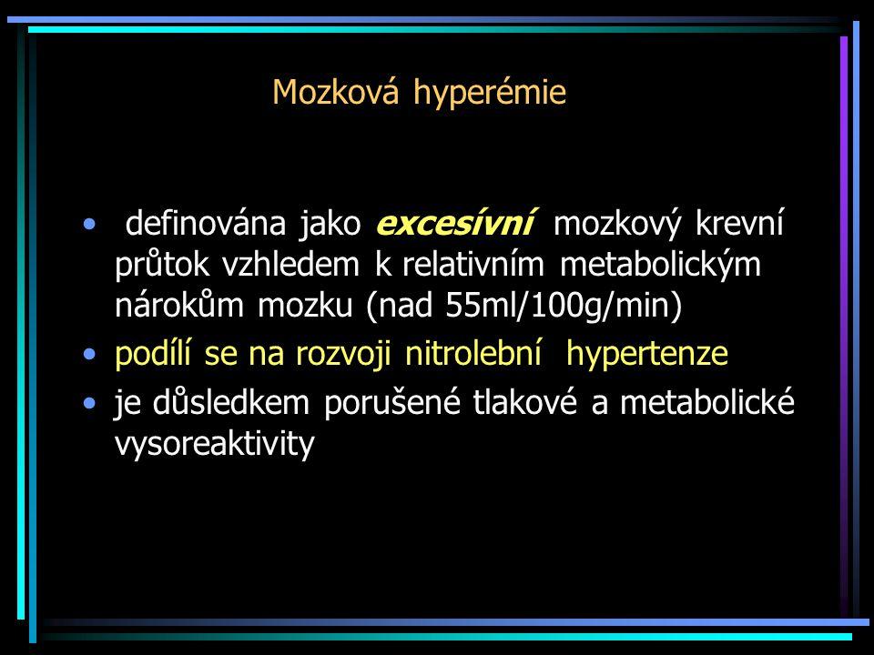 Mozková hyperémie • definována jako excesívní mozkový krevní průtok vzhledem k relativním metabolickým nárokům mozku (nad 55ml/100g/min) •podílí se na