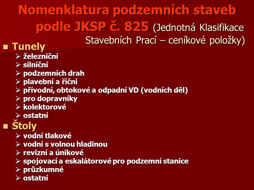 Nomenklatura podzemních staveb podle JKSP č.