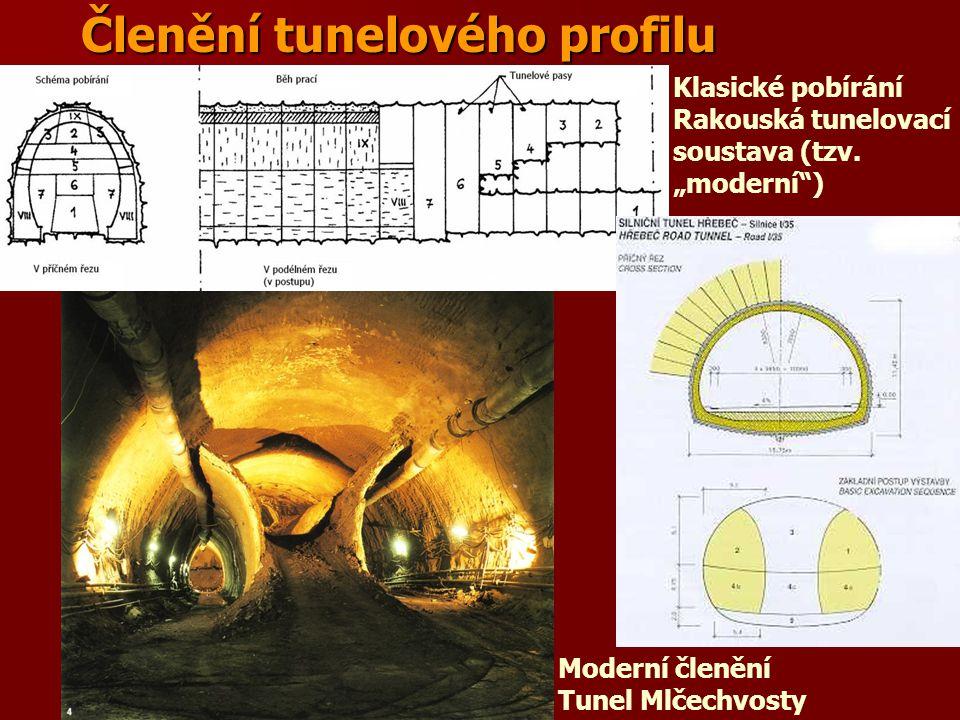 """Členění tunelového profilu Moderní členění Tunel Mlčechvosty Klasické pobírání Rakouská tunelovací soustava (tzv. """"moderní"""")"""