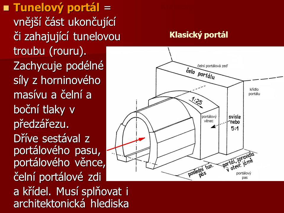  Tunelový portál = vnější část ukončující či zahajující tunelovou troubu (rouru). Zachycuje podélné síly z horninového masívu a čelní a boční tlaky v
