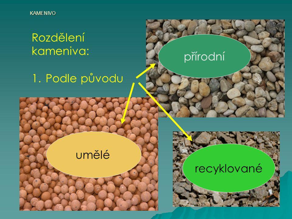 KAMENIVO • těžké – kamenivo s objemovou hmotností nad 3000 kg.m -3 Mezi těžká kameniva patří některé minerály přírodního nebo syntetického původu – syntetický korund – 4000 kg.m-3, baryt – 4500 kg.m-3, magnetit a hematit – až 5300 kg.m-3 hematit baryt