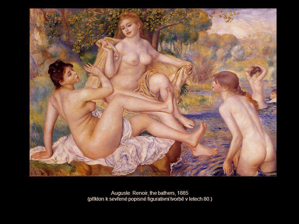 Auguste Renoir, the bathers, 1885 (příklon k sevřené popisné figurativní tvorbě v letech 80.)