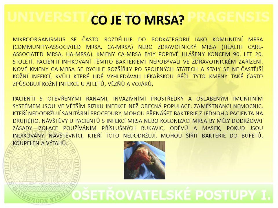 CO JE TO MRSA? MIKROORGANISMUS SE ČASTO ROZDĚLUJE DO PODKATEGORIÍ JAKO KOMUNITNÍ MRSA (COMMUNITY-ASSOCIATED MRSA, CA-MRSA) NEBO ZDRAVOTNICKÝ MRSA (HEA