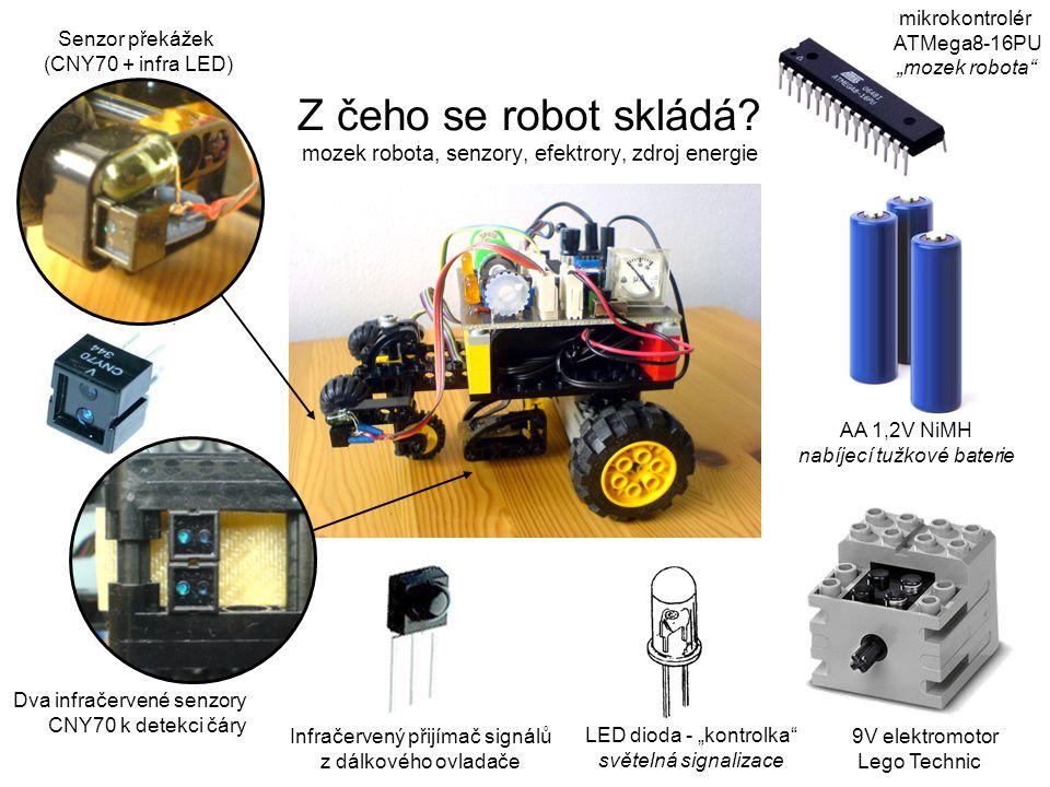 """mikrokontrolér ATMega8-16PU """"mozek robota 9V elektromotor Lego Technic Dva infračervené senzory CNY70 k detekci čáry Senzor překážek (CNY70 + infra LED) Infračervený přijímač signálů z dálkového ovladače LED dioda - """"kontrolka světelná signalizace AA 1,2V NiMH nabíjecí tužkové baterie Z čeho se robot skládá."""