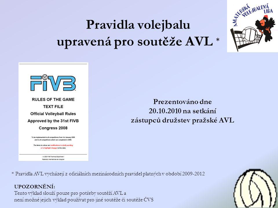 Pravidla volejbalu upravená pro soutěže AVL * * Pravidla AVL vycházejí z oficiálních mezinárodních pravidel platných v období 2009-2012 UPOZORNĚNÍ: Te
