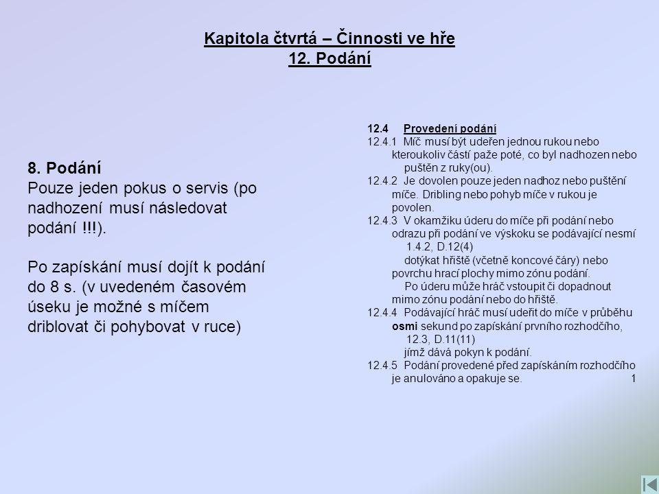 Kapitola čtvrtá – Činnosti ve hře 12. Podání 12.4 Provedení podání 12.4.1 Míč musí být udeřen jednou rukou nebo kteroukoliv částí paže poté, co byl na