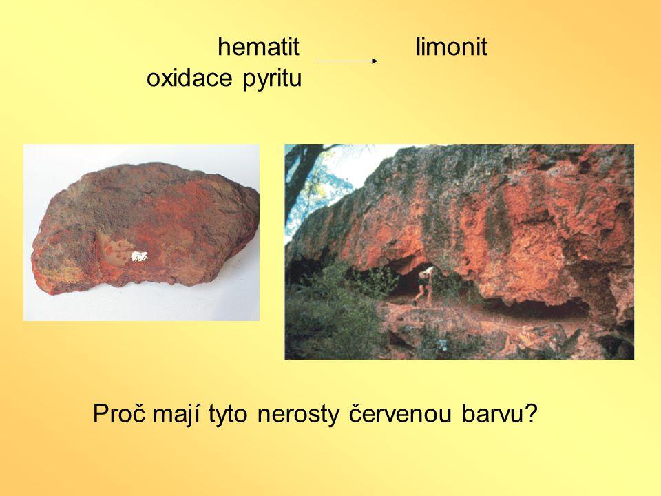 hematit limonit oxidace pyritu Proč mají tyto nerosty červenou barvu?