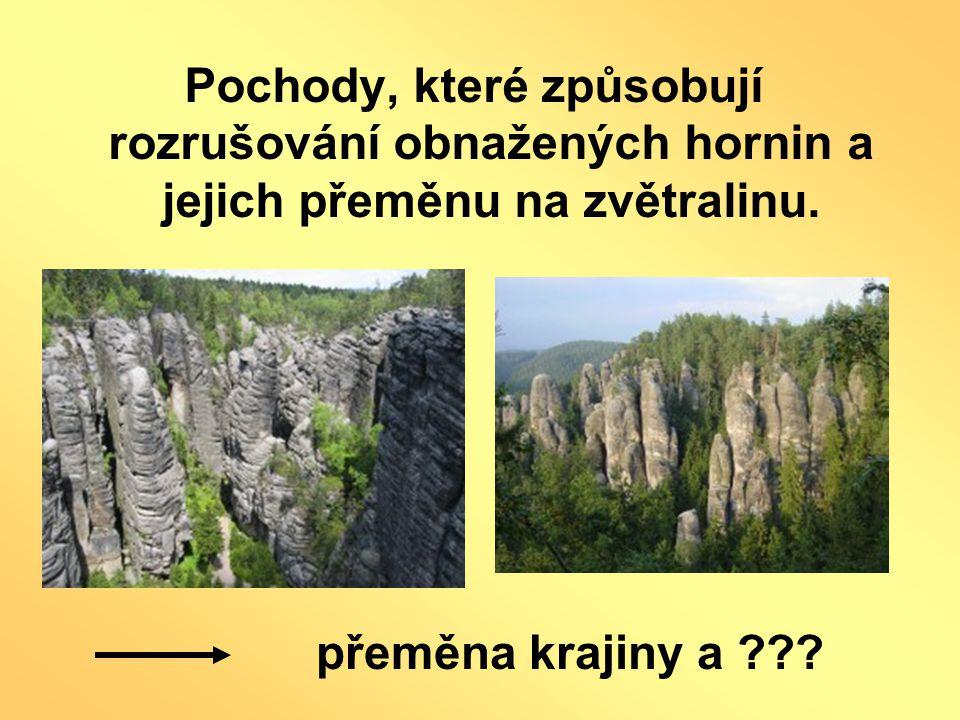 Pochody, které způsobují rozrušování obnažených hornin a jejich přeměnu na zvětralinu. přeměna krajiny a ???