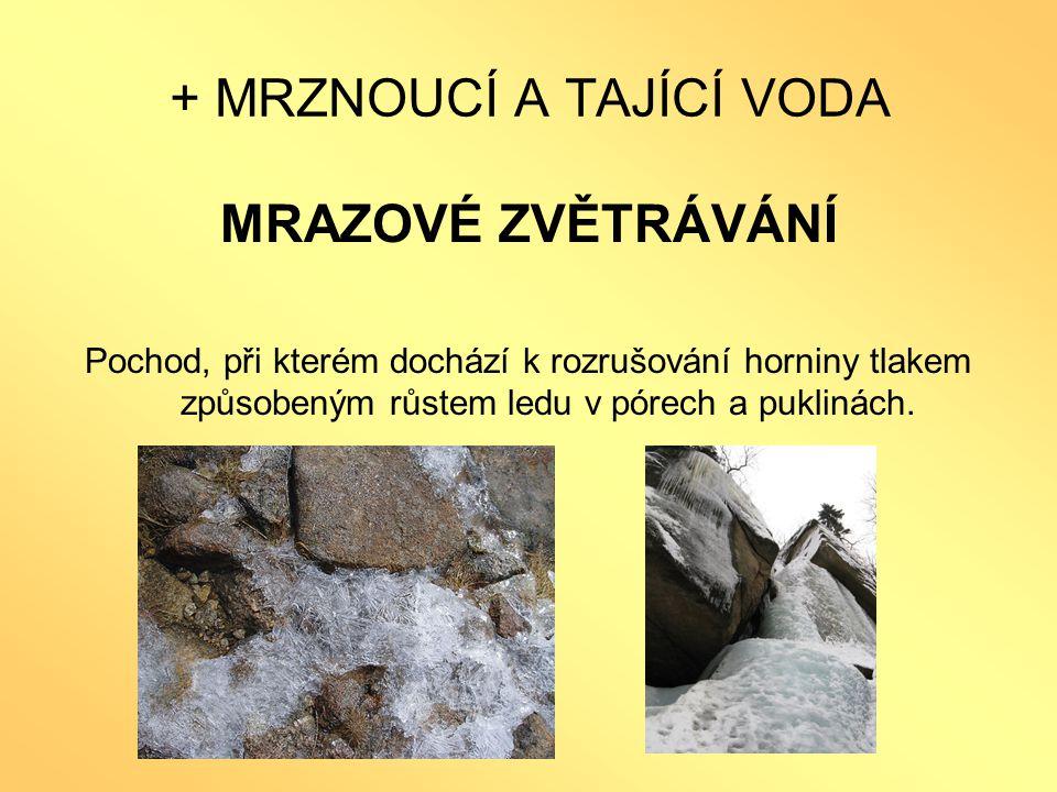 + MRZNOUCÍ A TAJÍCÍ VODA MRAZOVÉ ZVĚTRÁVÁNÍ Pochod, při kterém dochází k rozrušování horniny tlakem způsobeným růstem ledu v pórech a puklinách.