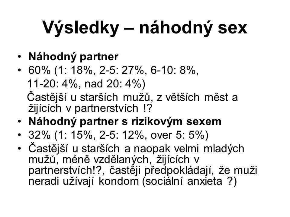Výsledky – náhodný sex •Náhodný partner •60% (1: 18%, 2-5: 27%, 6-10: 8%, 11-20: 4%, nad 20: 4%) Častější u starších mužů, z větších měst a žijících v