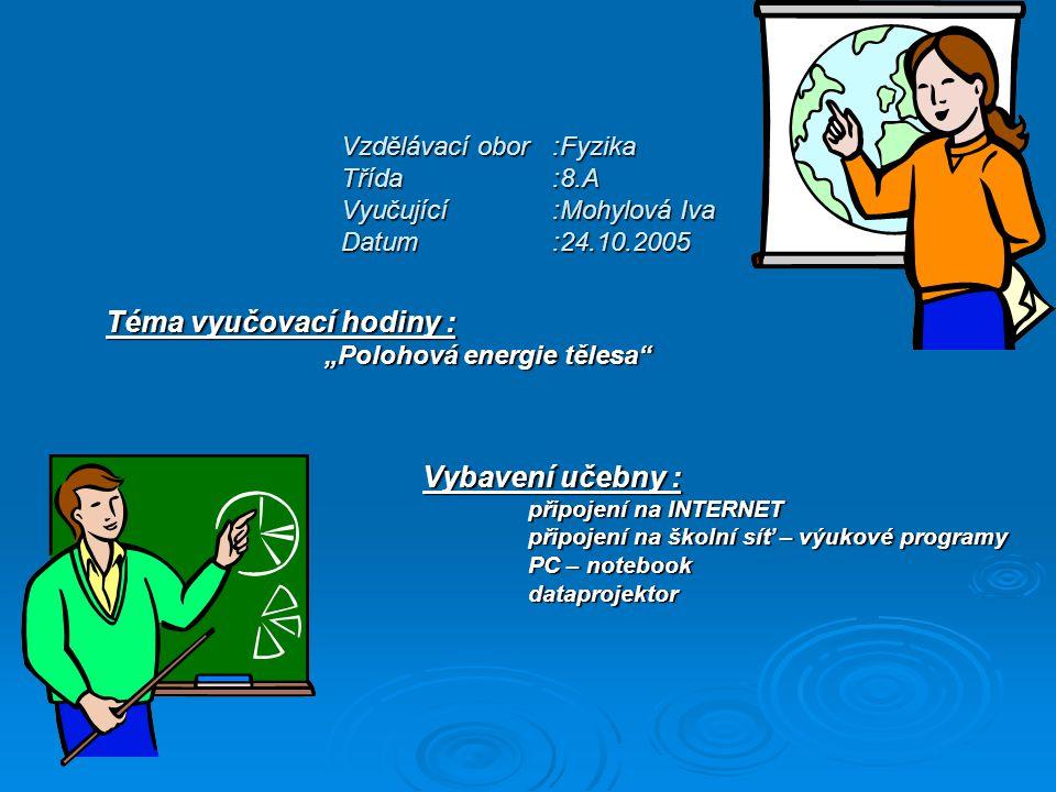 """Vzdělávací obor:Fyzika Třída:8.A Vyučující:Mohylová Iva Datum:24.10.2005 Téma vyučovací hodiny : """"Polohová energie tělesa"""" """"Polohová energie tělesa"""" V"""