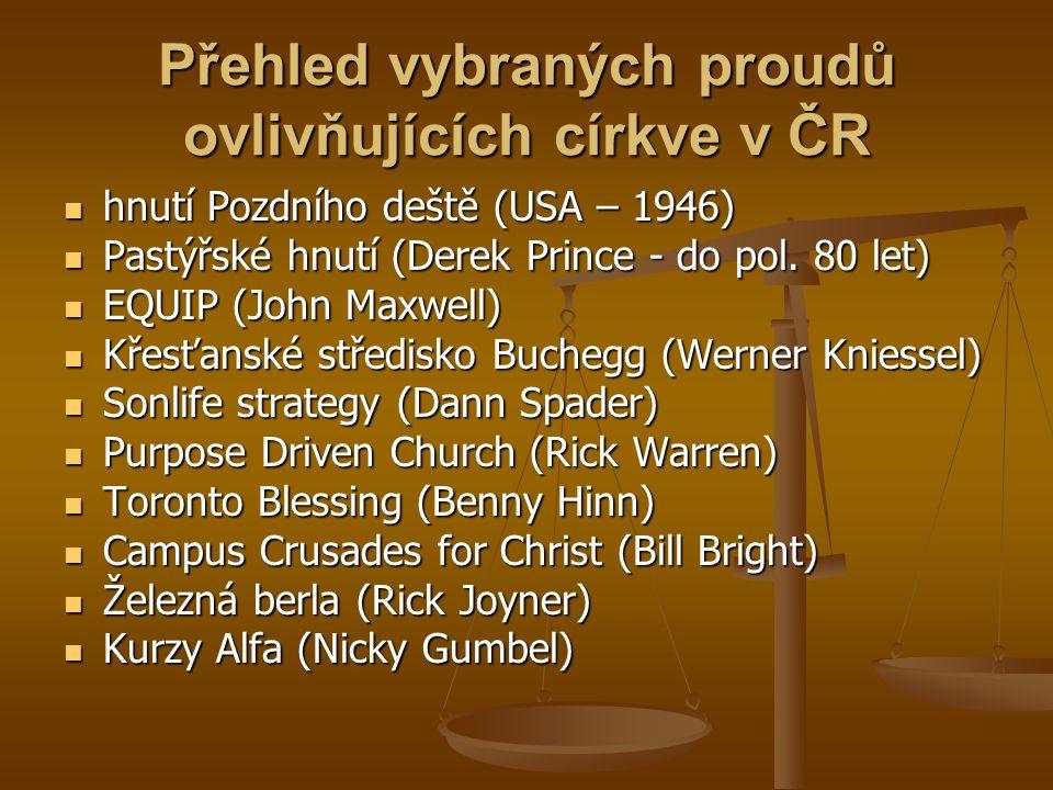 Přehled vybraných proudů ovlivňujících církve v ČR  hnutí Pozdního deště (USA – 1946)  Pastýřské hnutí (Derek Prince - do pol.