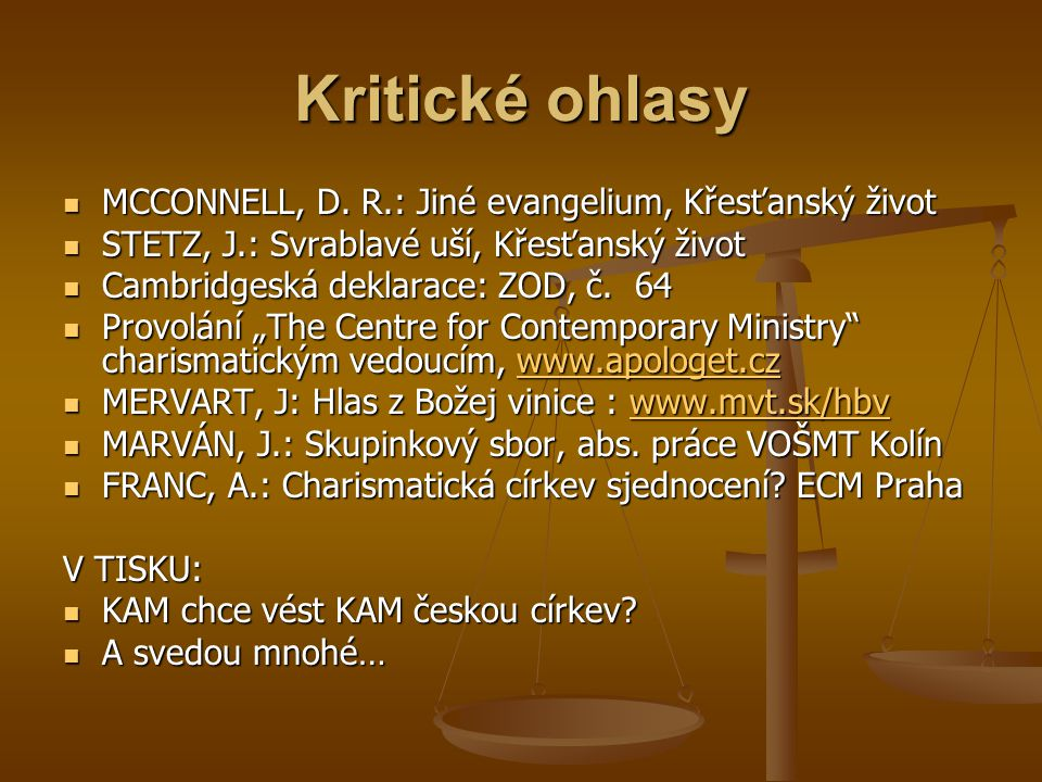 Kritické ohlasy  MCCONNELL, D.
