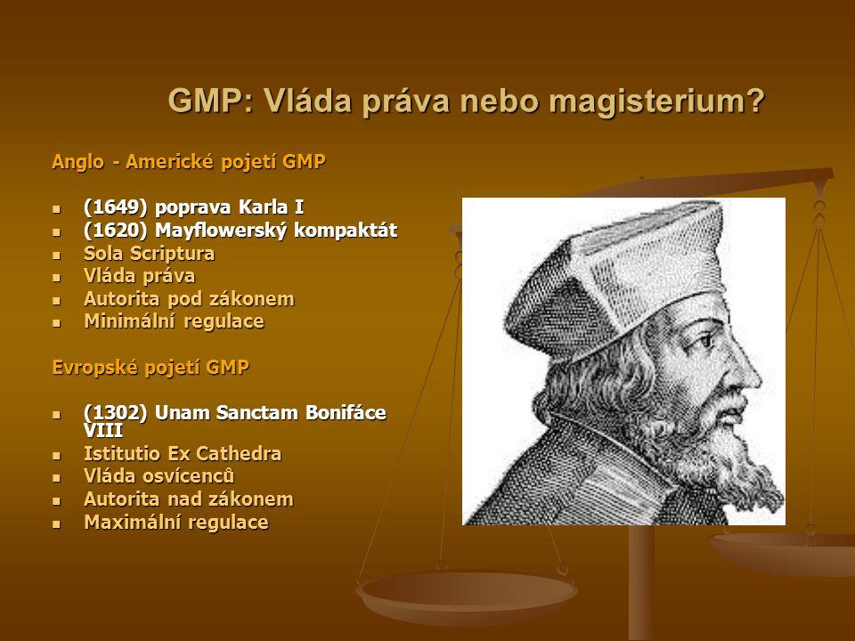 GMP: Vláda práva nebo magisterium? Anglo - Americké pojetí GMP  (1649) poprava Karla I  (1620) Mayflowerský kompaktát  Sola Scriptura  Vláda práva