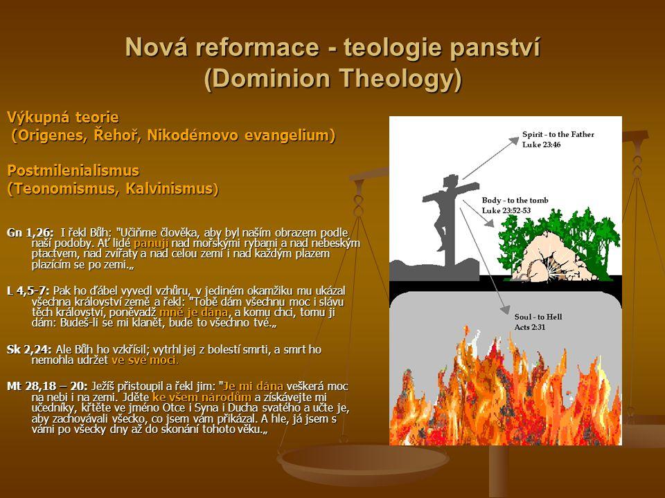 Nová reformace - teologie panství (Dominion Theology) Výkupná teorie (Origenes, Řehoř, Nikodémovo evangelium) (Origenes, Řehoř, Nikodémovo evangelium)Postmilenialismus (Teonomismus, Kalvinismus ) Gn 1,26: I řekl Bůh: Učiňme člověka, aby byl naším obrazem podle naší podoby.