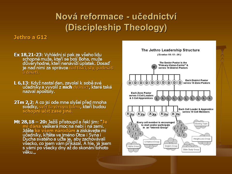 Nová reformace - učednictví (Discipleship Theology) Jethro a G12 Ex 18,21-23: Vyhlédni si pak ze všeho lidu schopné muže, kteří se bojí Boha, muže důvěryhodné, kteří nenávidí úplatek.