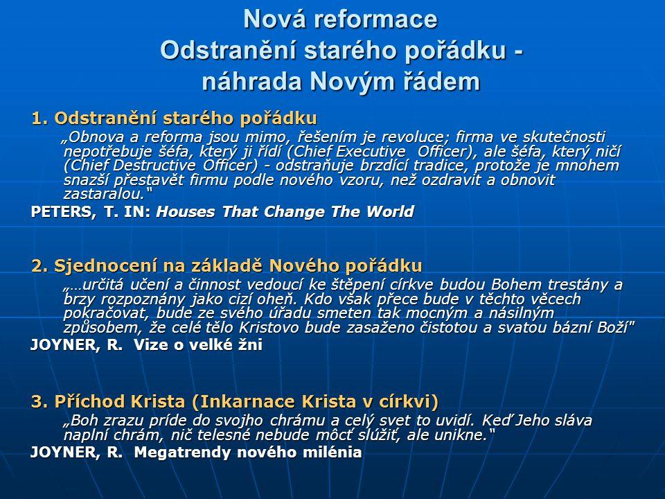Nová reformace Odstranění starého pořádku - náhrada Novým řádem 1.