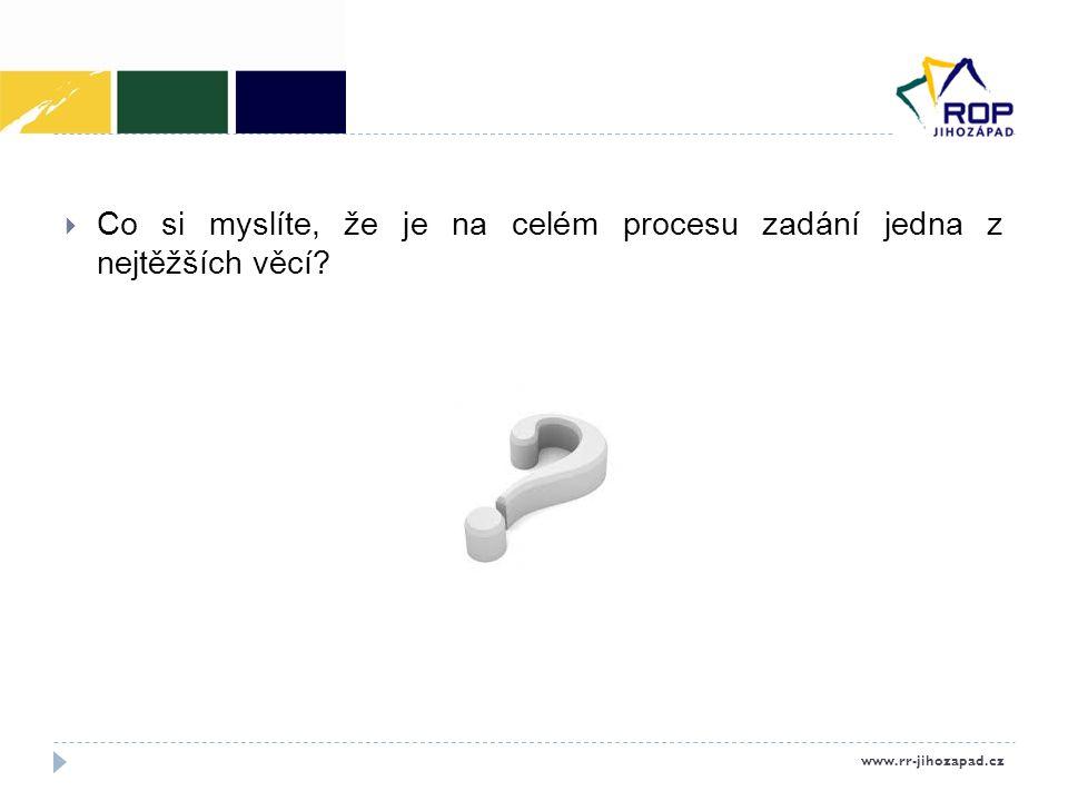  Co si myslíte, že je na celém procesu zadání jedna z nejtěžších věcí? www.rr-jihozapad.cz