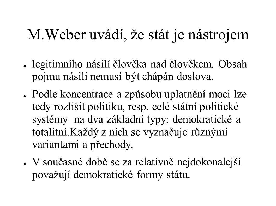 M.Weber uvádí, že stát je nástrojem ● legitimního násilí člověka nad člověkem. Obsah pojmu násilí nemusí být chápán doslova. ● Podle koncentrace a způ