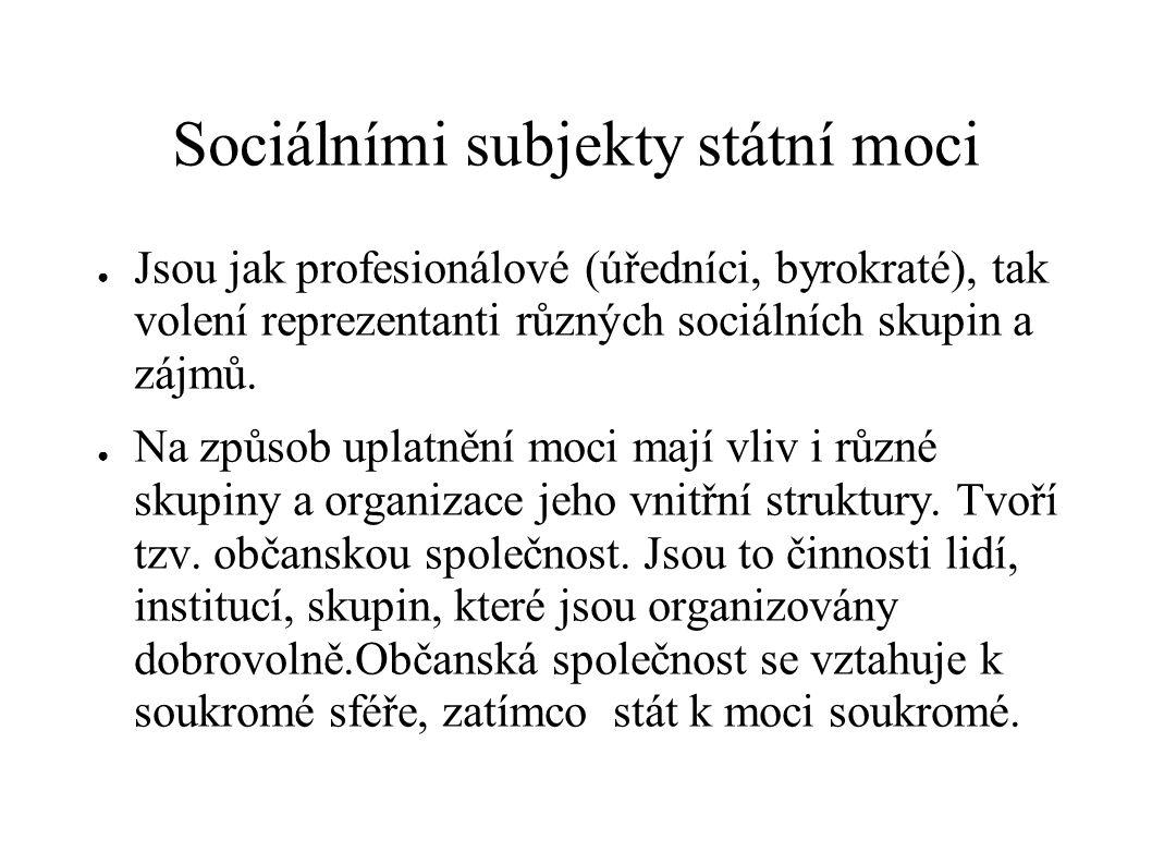 Sociálními subjekty státní moci ● Jsou jak profesionálové (úředníci, byrokraté), tak volení reprezentanti různých sociálních skupin a zájmů. ● Na způs