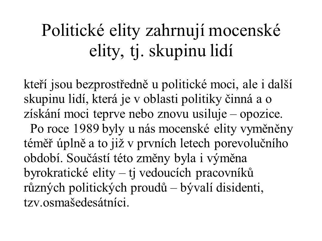 Politické elity zahrnují mocenské elity, tj. skupinu lidí kteří jsou bezprostředně u politické moci, ale i další skupinu lidí, která je v oblasti poli