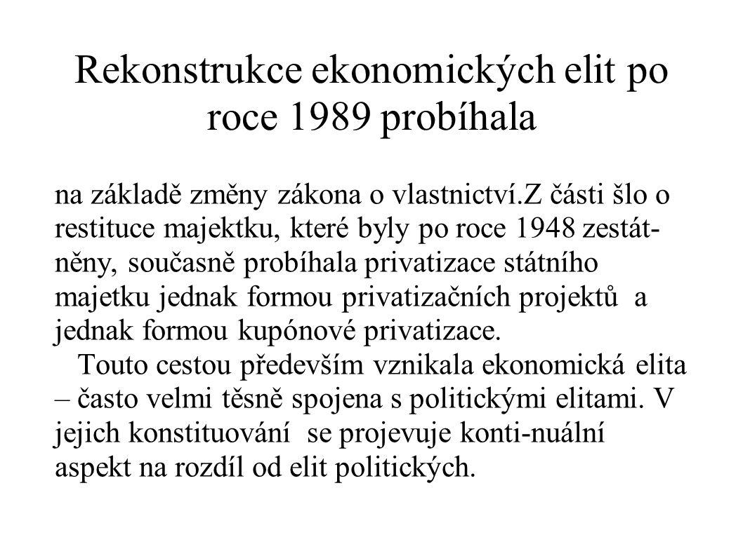 Rekonstrukce ekonomických elit po roce 1989 probíhala na základě změny zákona o vlastnictví.Z části šlo o restituce majektku, které byly po roce 1948
