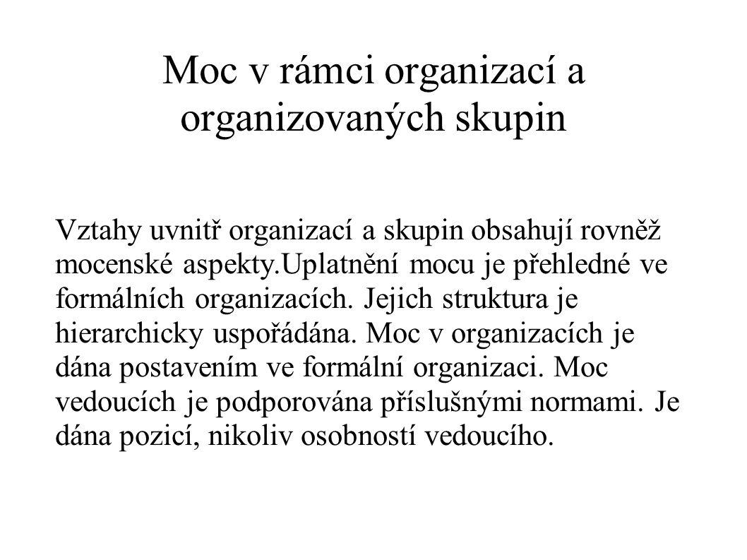 Moc v rámci organizací a organizovaných skupin Vztahy uvnitř organizací a skupin obsahují rovněž mocenské aspekty.Uplatnění mocu je přehledné ve formá