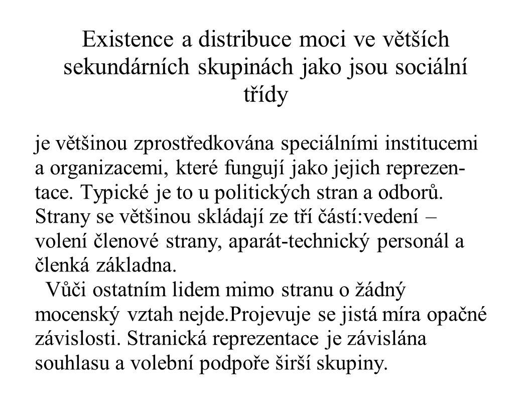 Existence a distribuce moci ve větších sekundárních skupinách jako jsou sociální třídy je většinou zprostředkována speciálními institucemi a organizac