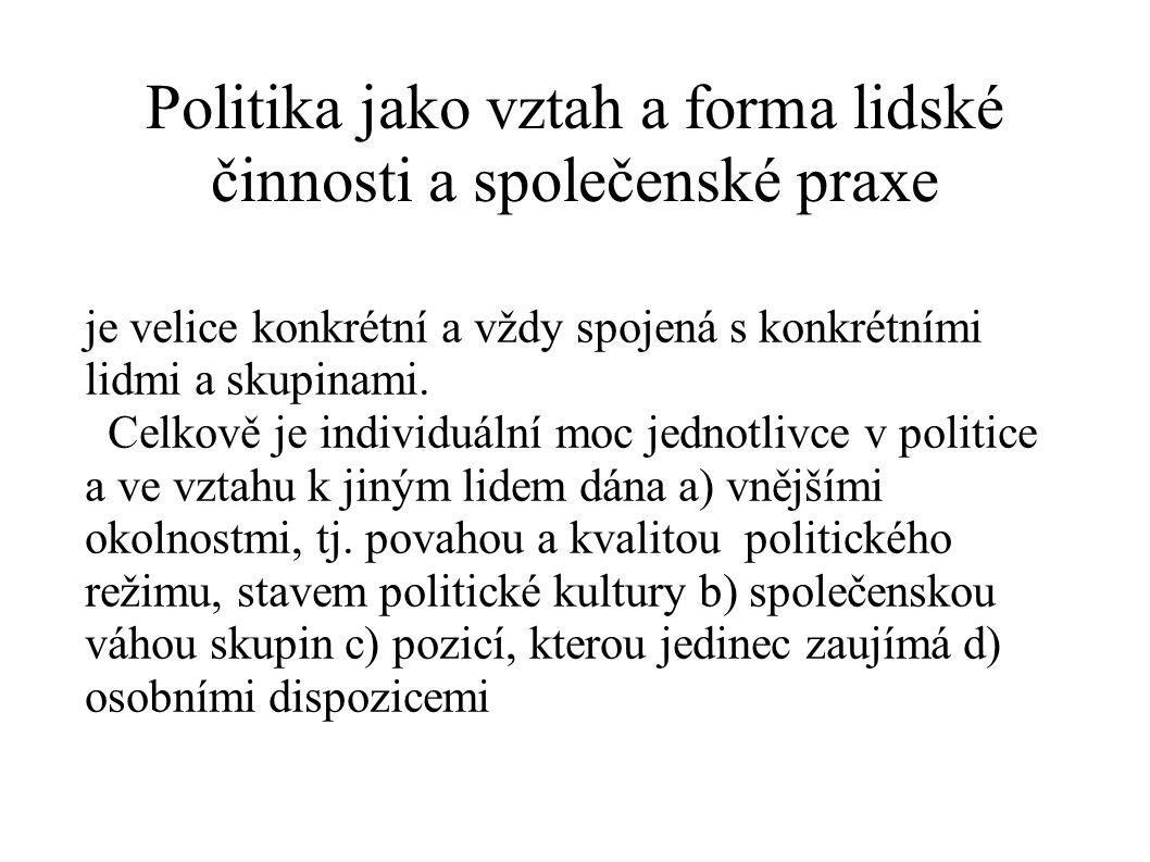 Politika jako vztah a forma lidské činnosti a společenské praxe je velice konkrétní a vždy spojená s konkrétními lidmi a skupinami. Celkově je individ