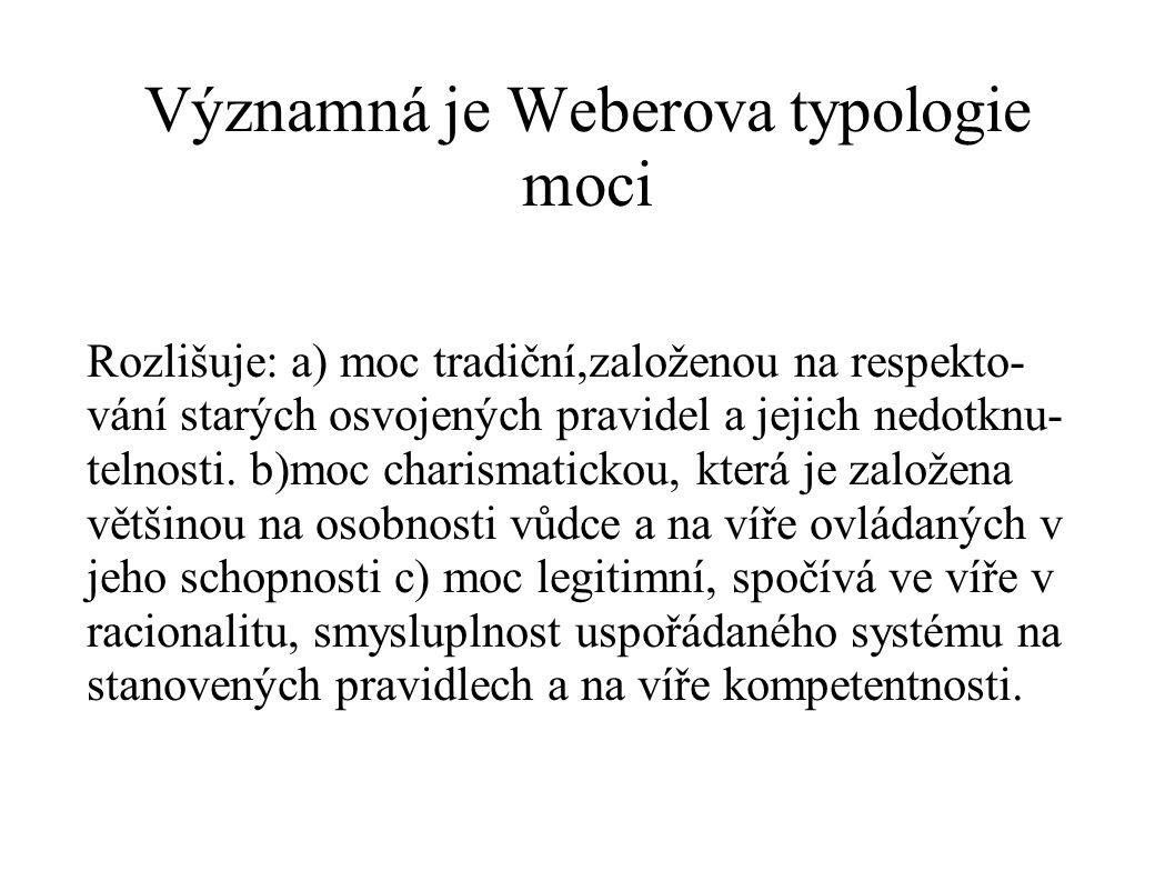 Významná je Weberova typologie moci Rozlišuje: a) moc tradiční,založenou na respekto- vání starých osvojených pravidel a jejich nedotknu- telnosti. b)