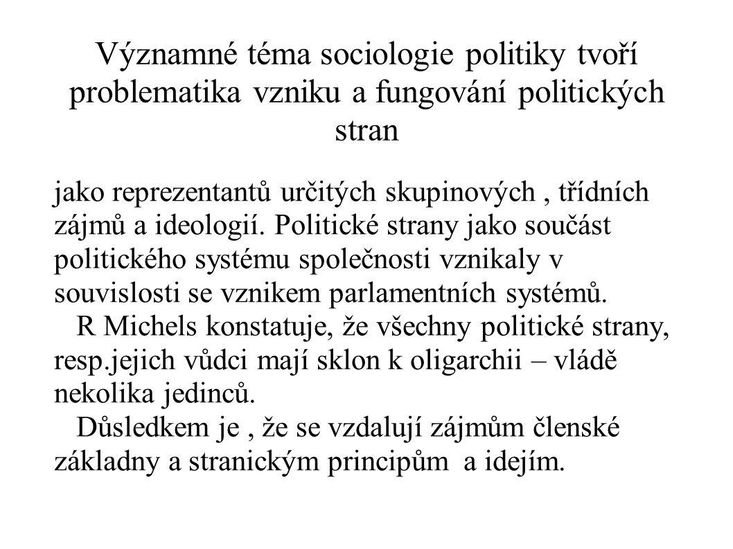 Významné téma sociologie politiky tvoří problematika vzniku a fungování politických stran jako reprezentantů určitých skupinových, třídních zájmů a id