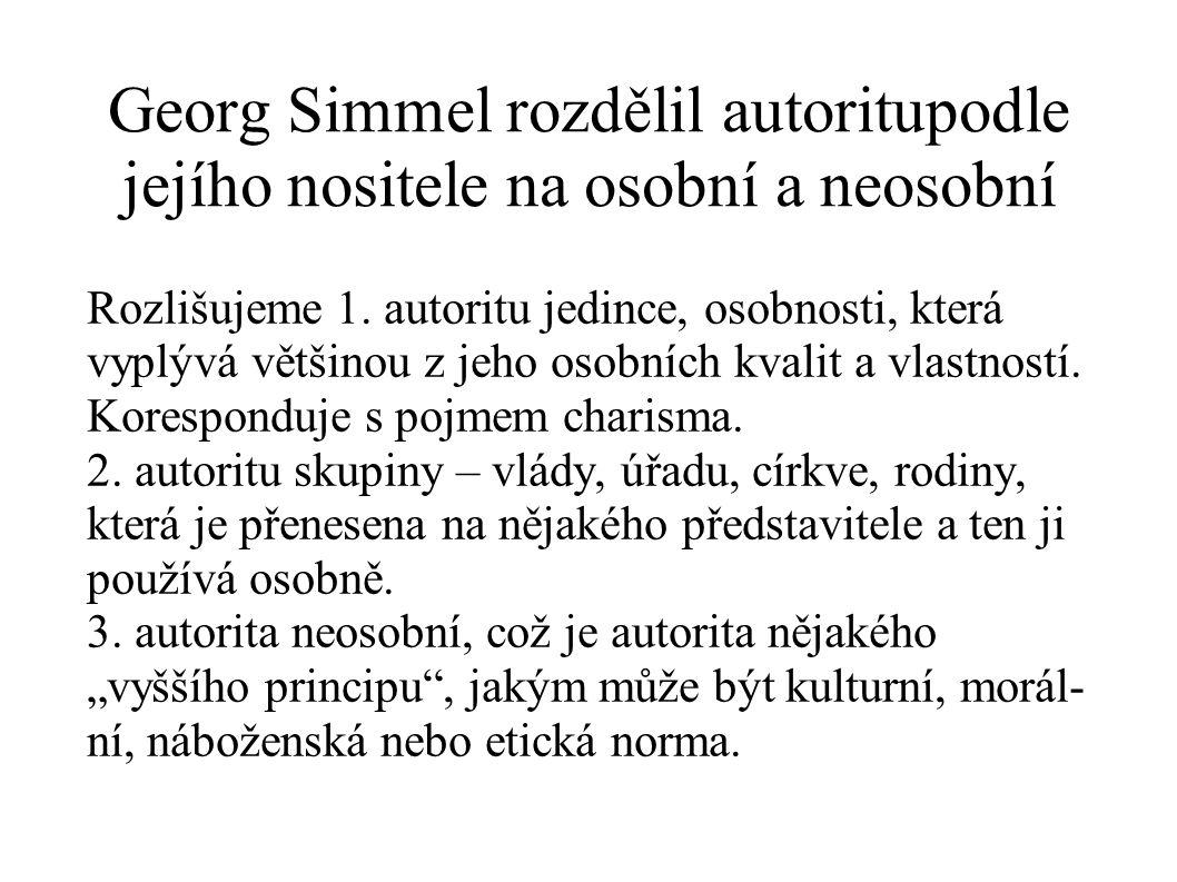 Georg Simmel rozdělil autoritupodle jejího nositele na osobní a neosobní Rozlišujeme 1. autoritu jedince, osobnosti, která vyplývá většinou z jeho oso