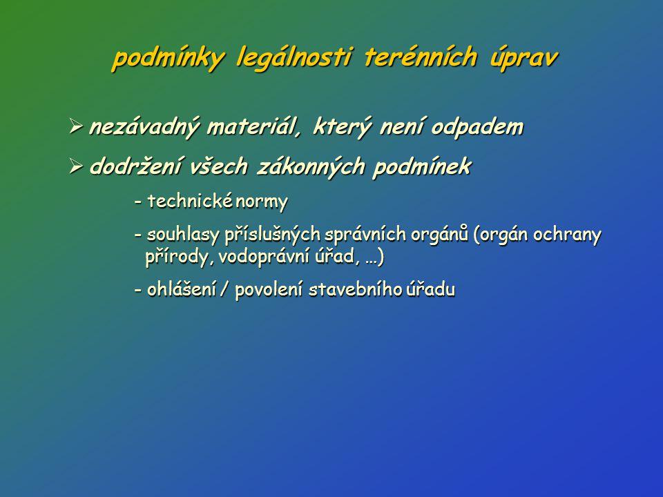 podmínky legálnosti terénních úprav  nezávadný materiál, který není odpadem  dodržení všech zákonných podmínek - technické normy - souhlasy příslušn