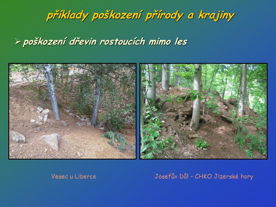 příklady poškození přírody a krajiny  poškození dřevin rostoucích mimo les Vesec u LiberceJosefův Důl – CHKO Jizerské hory