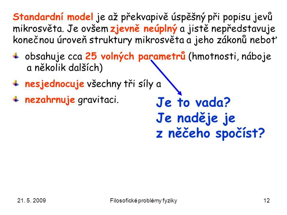 21. 5. 2009Filosofické problémy fyziky12 Standardní model je až překvapivě úspěšný při popisu jevů mikrosvěta. Je ovšem zjevně neúplný a jistě nepředs