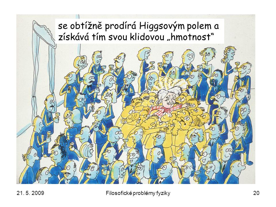 """21. 5. 2009Filosofické problémy fyziky20 se obtížně prodírá Higgsovým polem a získává tím svou klidovou """"hmotnost"""""""