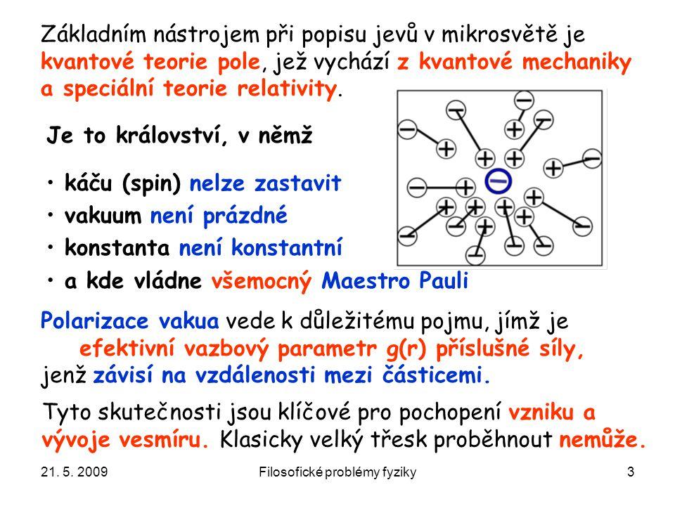 21. 5. 2009Filosofické problémy fyziky3 Základním nástrojem při popisu jevů v mikrosvětě je kvantové teorie pole, jež vychází z kvantové mechaniky a s