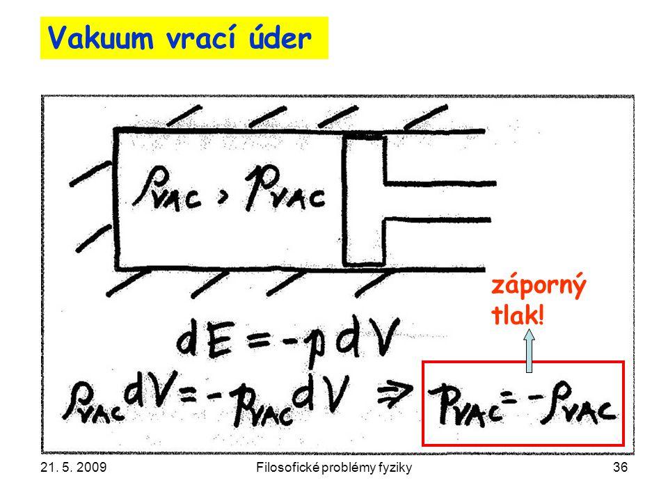 21. 5. 2009Filosofické problémy fyziky36 Vakuum vrací úder záporný tlak!