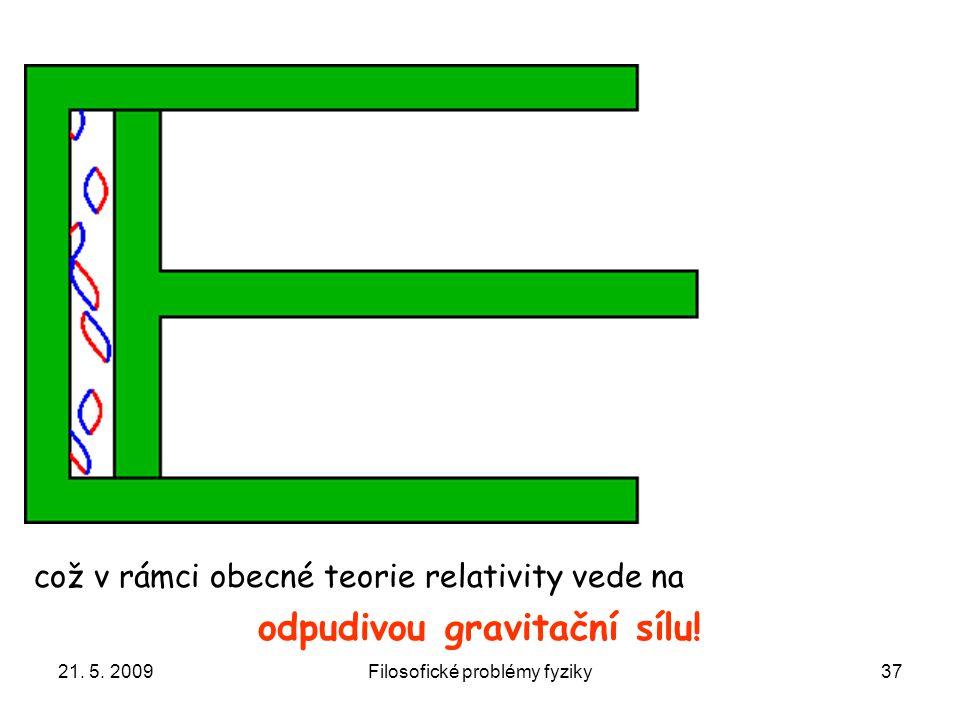 21. 5. 2009Filosofické problémy fyziky37 což v rámci obecné teorie relativity vede na odpudivou gravitační sílu!