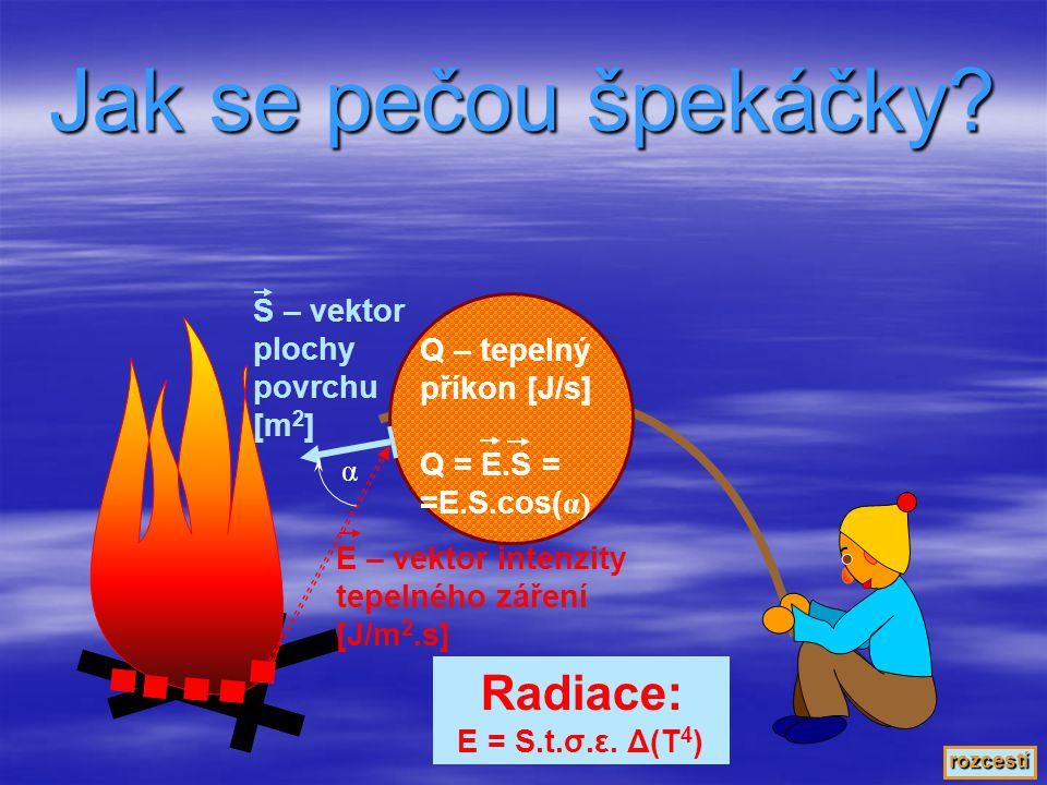 Součinitel tepelné vodivosti Množství tepla, jež daným materiálem projde za 1 sekundu plochou 1 m 2 na vzdálenost 1 m při rozdílu teplot 1 K (°C) α = Q/t.S.(1/l).ΔT [kJ/s.m.K] Q - množství tepla (energie) t – čas l – vzdálenost S – plocha (průřez) ΔT – rozdíl teplot (míst oddělených vzdáleností l) α – součinitel tepelné vodivosti najdeme v tabulkách, pozor na rozsah.