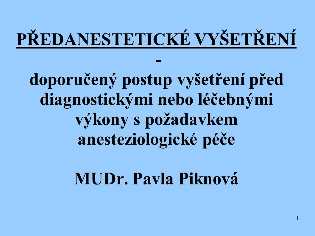 1 PŘEDANESTETICKÉ VYŠETŘENÍ - doporučený postup vyšetření před diagnostickými nebo léčebnými výkony s požadavkem anesteziologické péče MUDr. Pavla Pik